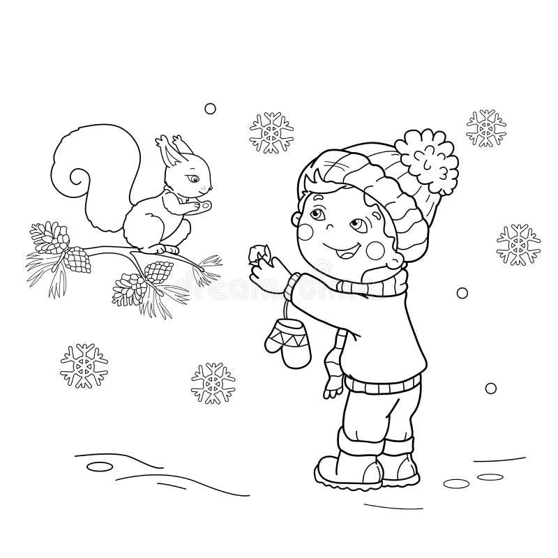 Esboço da página da coloração do menino dos desenhos animados que alimenta um esquilo Inverno ilustração royalty free