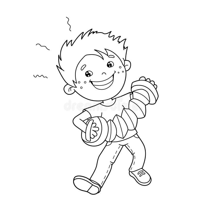 Esboço da página da coloração do menino dos desenhos animados que joga o acordeão ilustração stock