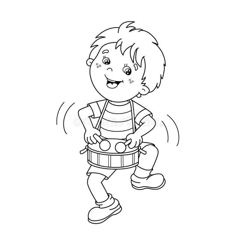 Esboço da página da coloração do menino dos desenhos animados que joga o cilindro Musical mim ilustração stock