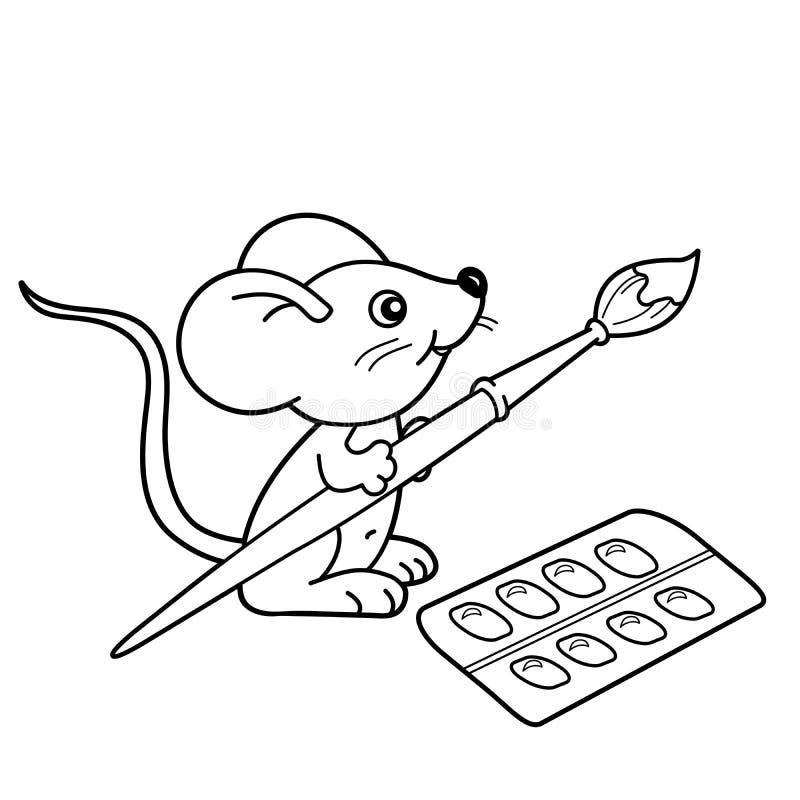Esboço da página da coloração do rato pequeno dos desenhos animados com escova e pinturas Livro para colorir para crianças ilustração do vetor
