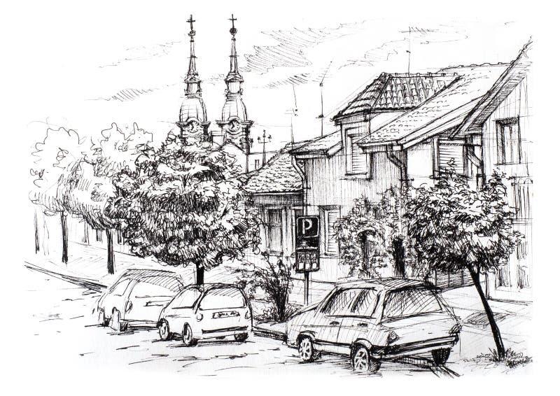 Esboço da paisagem urbana na Sérvia Rua da cidade com casas, a igreja, os carros e as árvores privados imagem de stock royalty free
