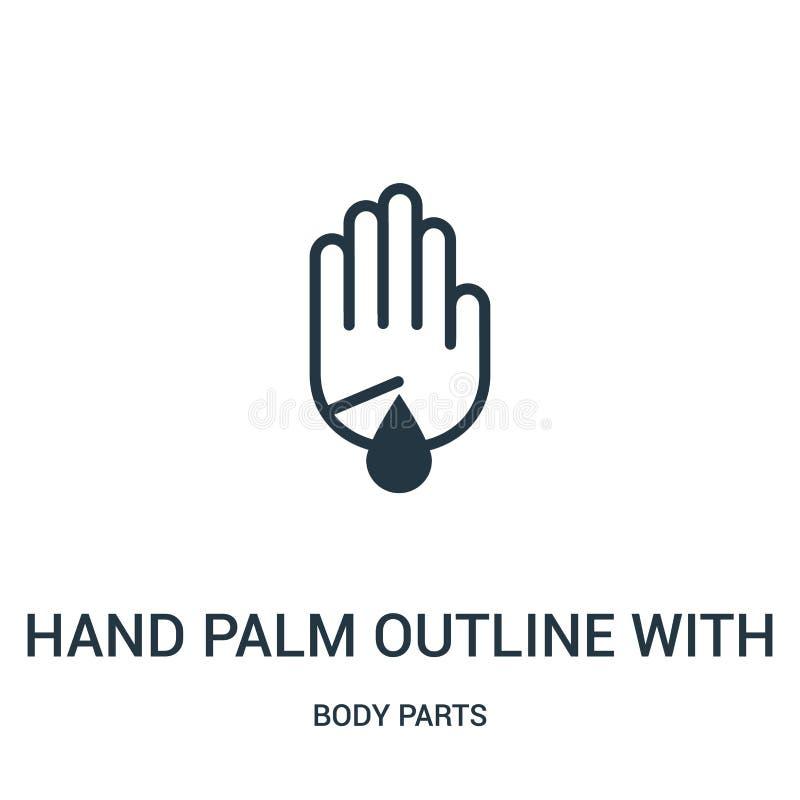 esboço da palma da mão com a ferida do risco com vetor do ícone da gota do sangue da coleção das partes do corpo Linha fina esboç ilustração stock