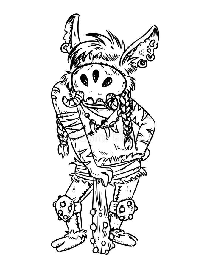 Esboço da pesca à corrica dos desenhos animados da fantasia Arte cômica do conceito do estilo da ilustração da silhueta do vetor ilustração stock