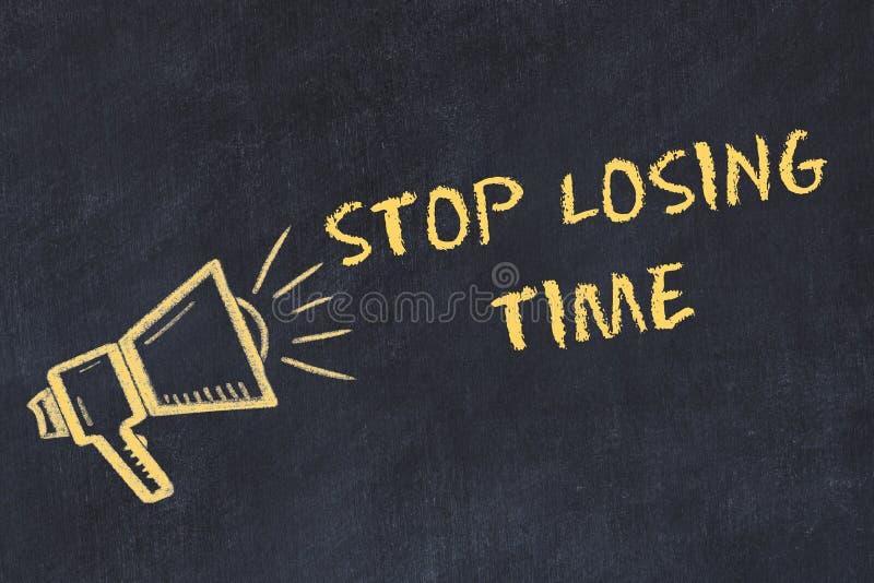 Esboço da placa de giz com texto escrito à mão para parar de perder o tempo ilustração do vetor