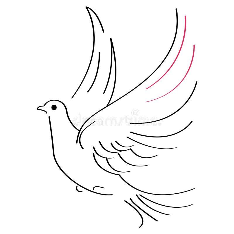 Esboço da pomba ilustração stock