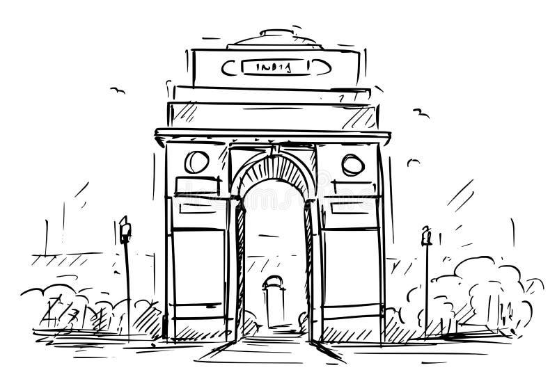 Esboço da porta da Índia, Nova Deli dos desenhos animados, Índia ilustração royalty free