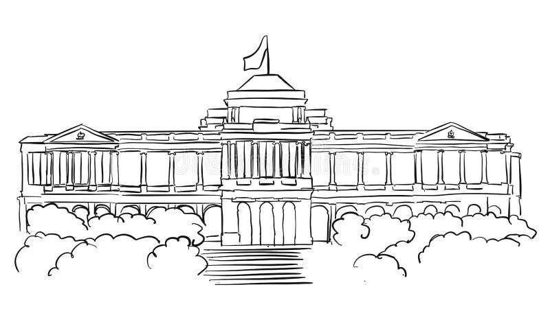 Esboço da residência dos presidentes de Singapura Istana ilustração stock