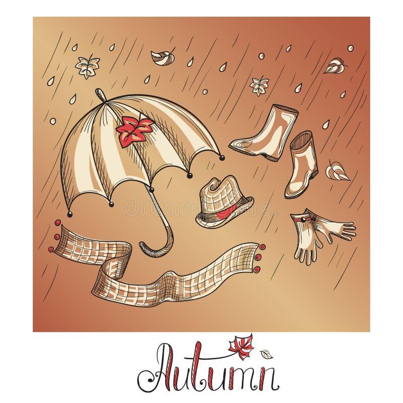 Esboço da roupa e dos acessórios do outono ilustração do vetor