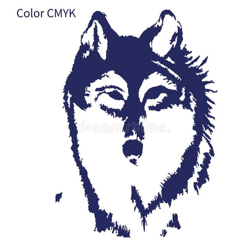 Esboço da silhueta para a tatuagem, cabeça em um fundo branco, cor CMYK do lobo ilustração royalty free