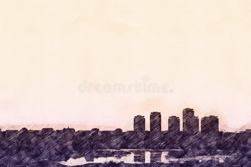 Esboço da skyline da cidade ilustração royalty free