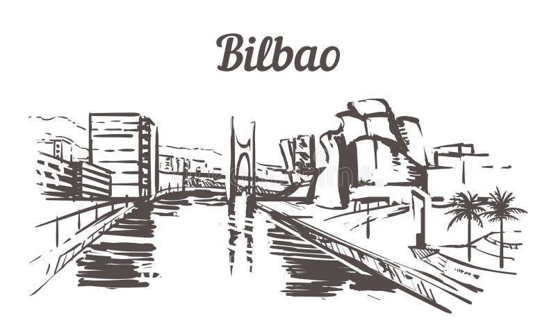 Esboço da skyline de Bilbao Bilbao, ilustração tirada mão da Espanha ilustração do vetor
