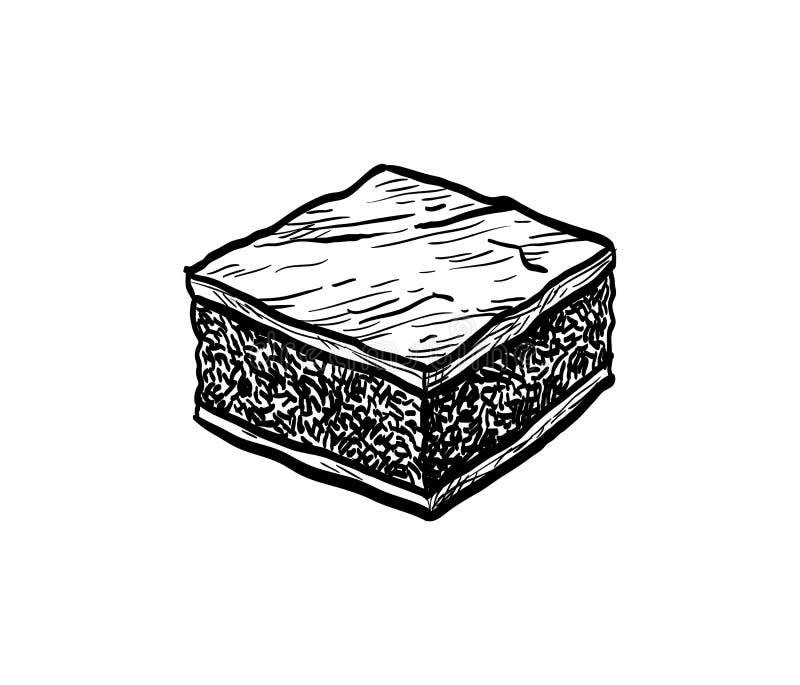 Esboço da tinta da brownie do chocolate ilustração stock