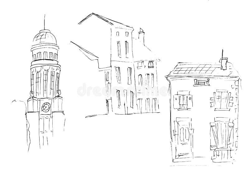 Esboço da tinta das construções Entregue a ilustração tirada das casas na cidade velha europeia Arte finala do curso Grupo de trê ilustração royalty free
