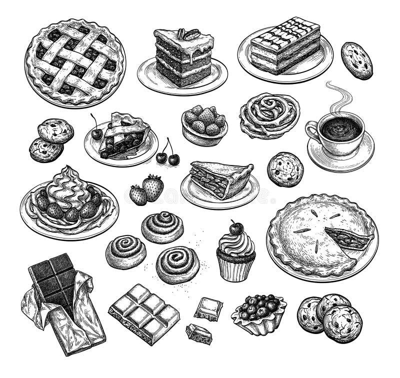 Esboço da tinta das sobremesas ilustração royalty free