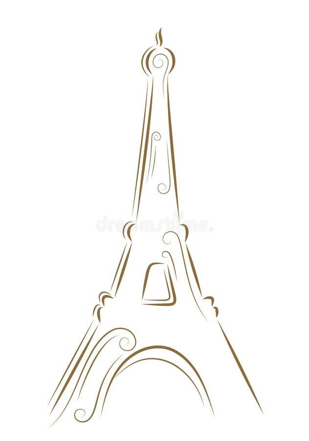 Esboço da torre Eiffel ilustração do vetor