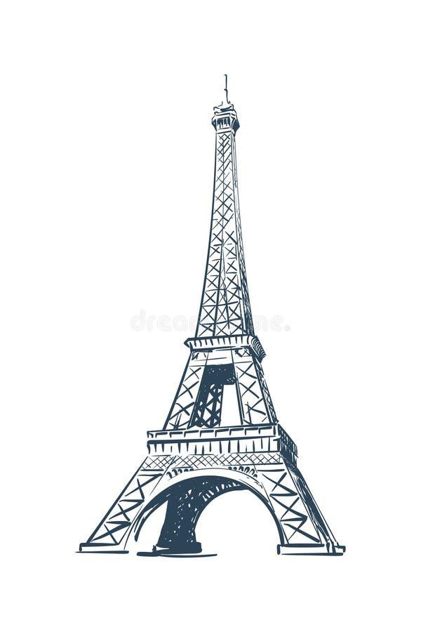 Esboço da torre Eiffel na BG branca ilustração royalty free