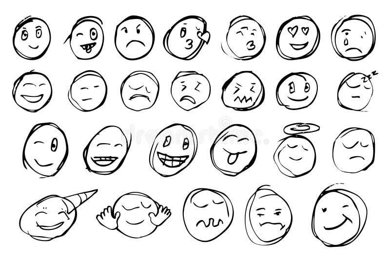 Esboço da tração da mão, emoticon ilustração royalty free