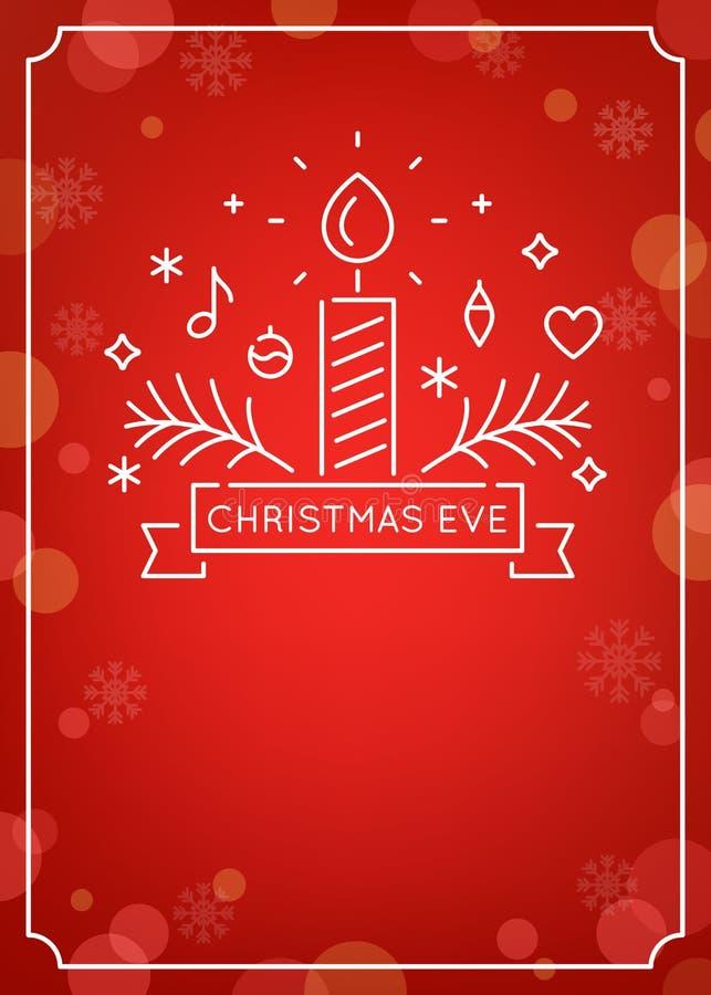 Esboço da vela e dos ornamento Natal Eve Candlelight Service Invitation Linha Art Vetora Design e Bokeh festivo ilustração royalty free