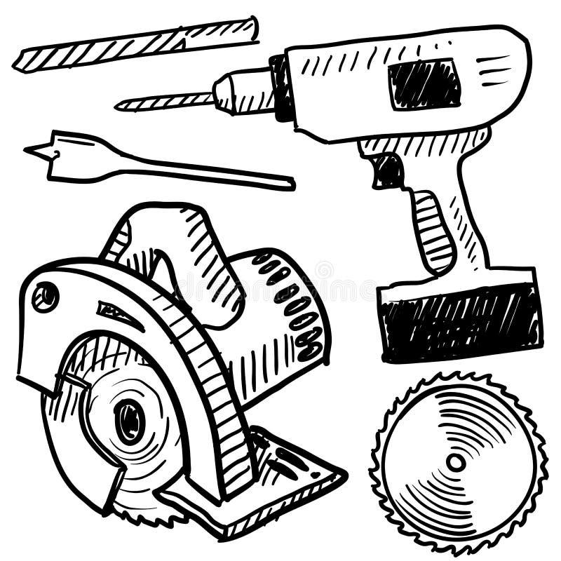 Esboço das ferramentas de potência ilustração stock
