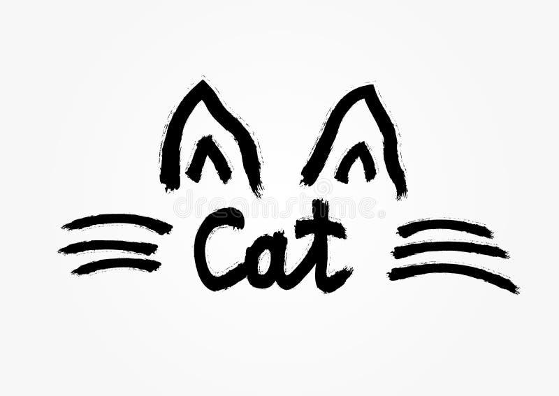 Esboço das orelhas e das suiças do ` s do gato tiradas à mão com escova áspera Gato escrito à mão do texto ilustração royalty free