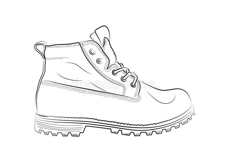 Esboço das sapatas em um fundo branco ilustração do vetor