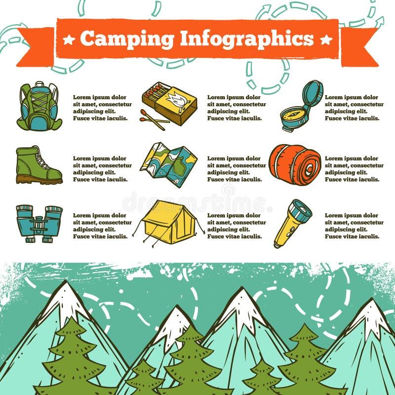 Esboço de acampamento de Infographics ilustração royalty free