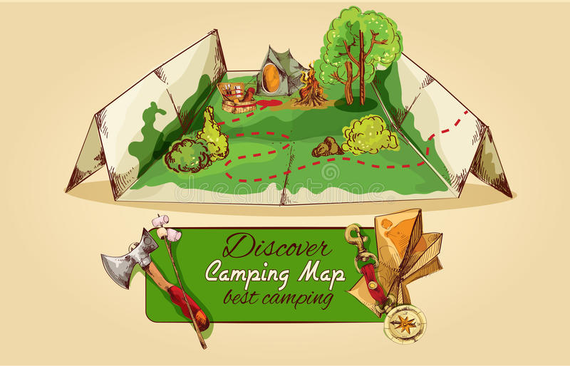 Esboço de acampamento do mapa ilustração do vetor