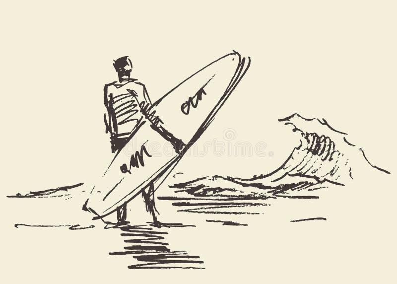 Esboço de assento tirado do vetor da prancha da praia do homem ilustração royalty free