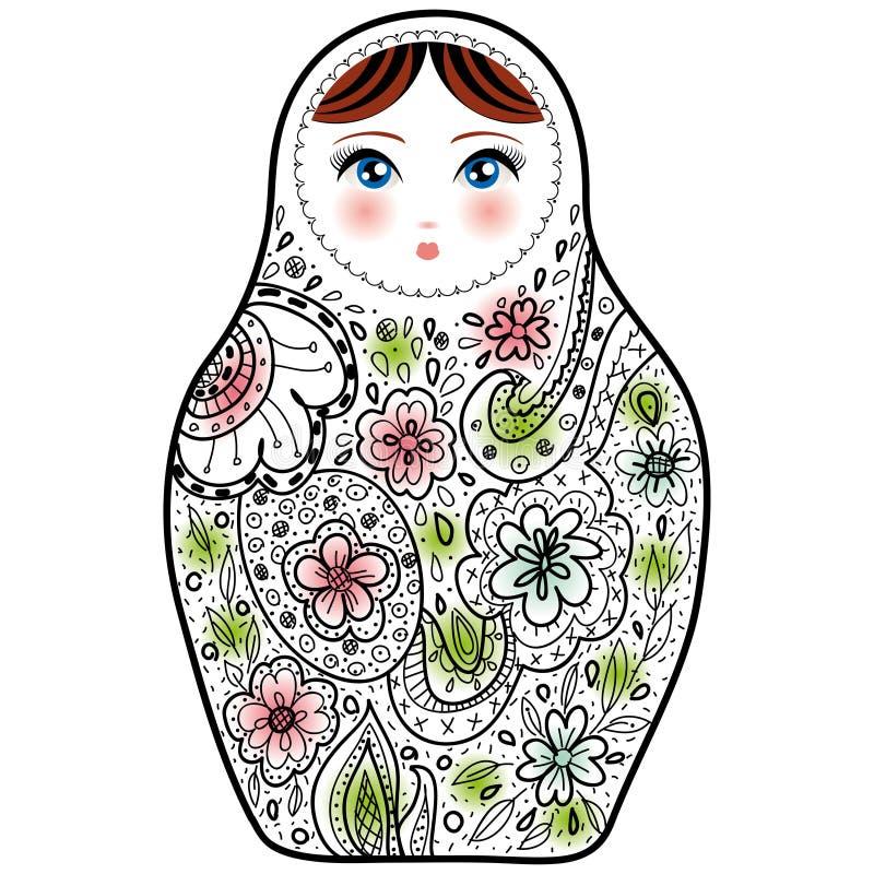 Esboço de Babushka do matrioshka da boneca do russo no fundo branco ilustração royalty free