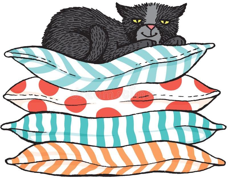 Esboço de Cector de um gato preto que senta-se em uma pilha dos coxins ilustração stock