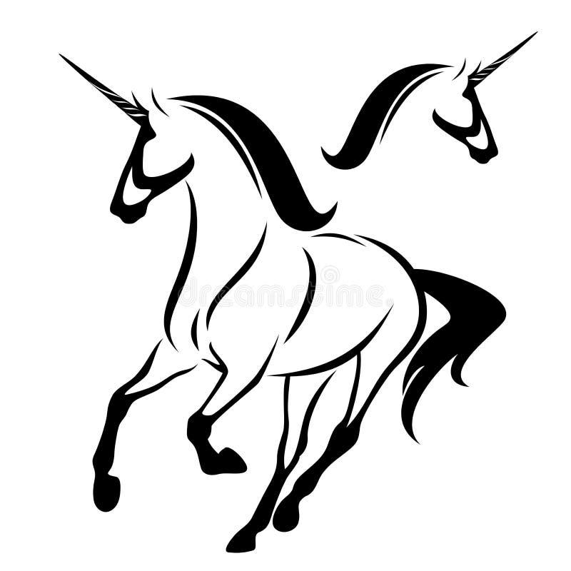Esboço de corrida do vetor do preto do cavalo do unicórnio ilustração stock