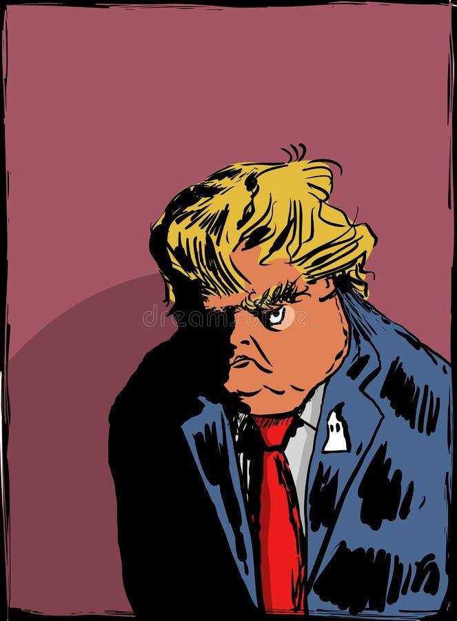 Esboço de Donald Trump fazendo uma carranca ilustração royalty free