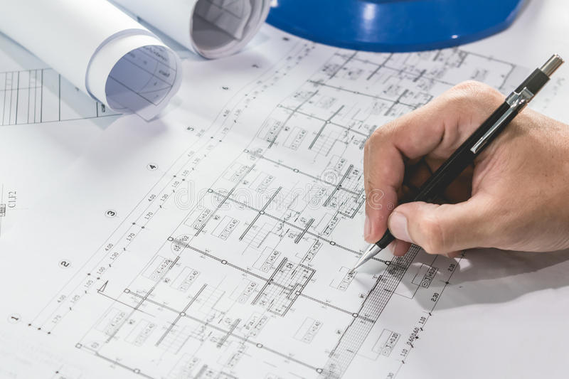 Esboço de esboço do projeto do papel de modelo do diagrama da engenharia fotos de stock royalty free