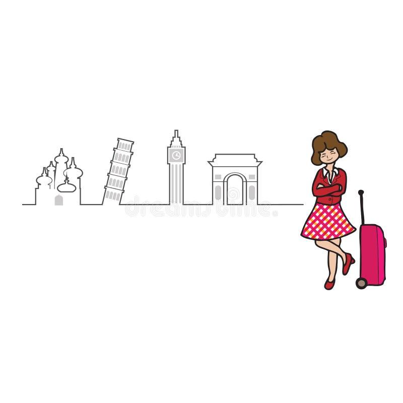 Esboço de Europa do curso de turista ilustração stock