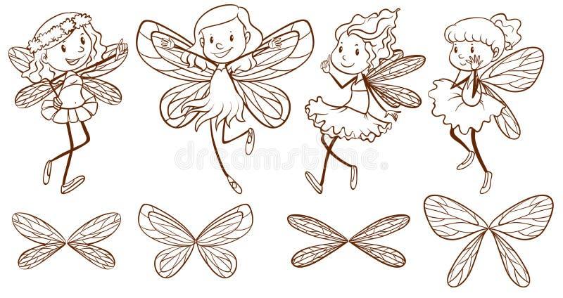Esboço de fadas simples ilustração royalty free