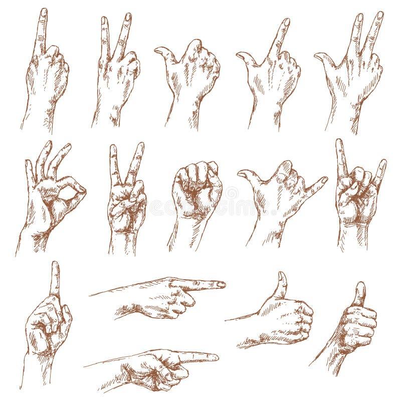 Esboço de gestos de mão ilustração royalty free