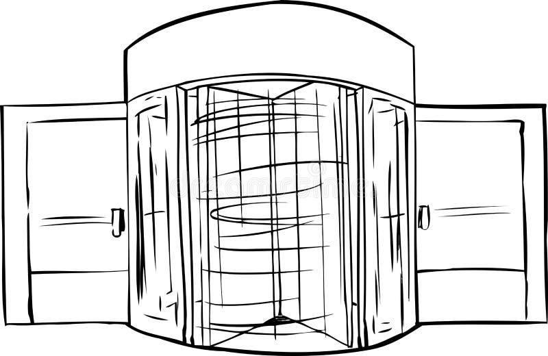 Esboço de giro da porta giratória ilustração do vetor