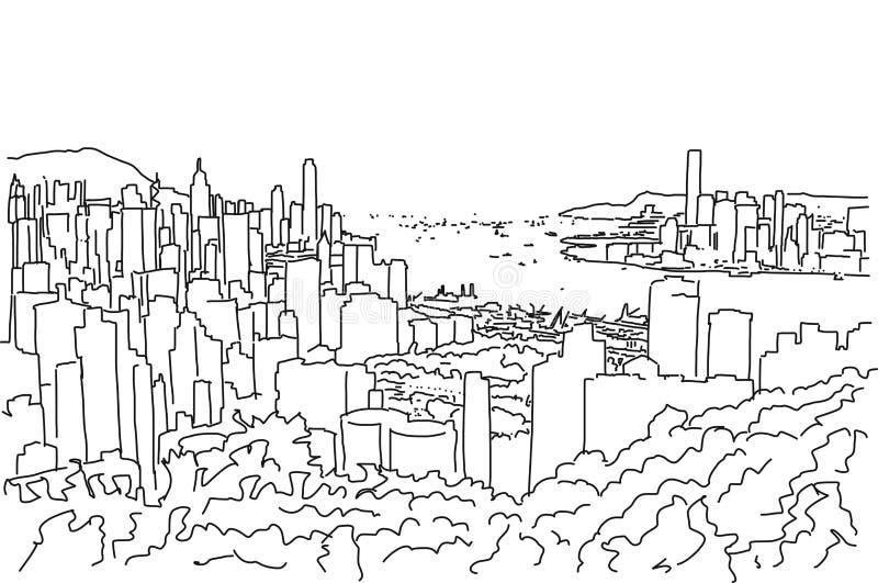 Esboço de Hong Kong Downtown Panorama Outline ilustração stock