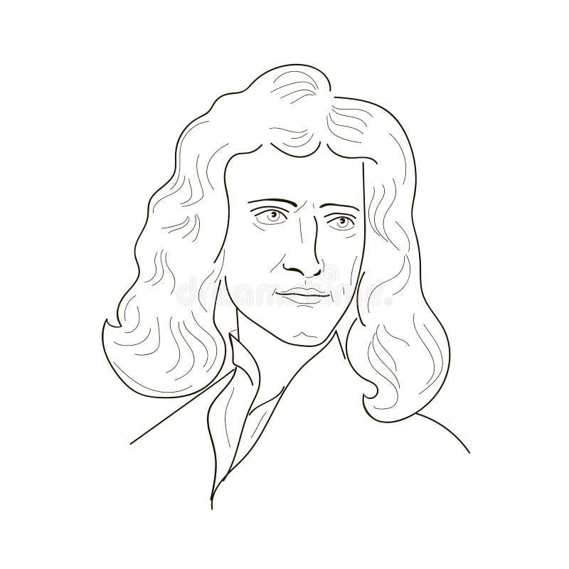 Esboço de Isaac Newton ilustração royalty free