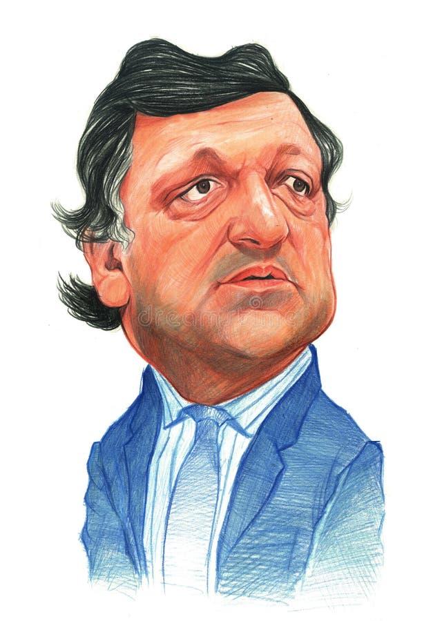 Esboço de Jose Manuel Barroso ilustração stock