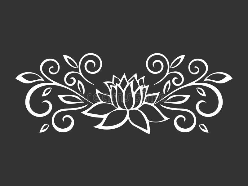 Esboço de Lotus Motivo da planta Elementos do projeto da flor Ilustração do vetor Projeto elegante do esboço da flor Símbolo cinz ilustração stock