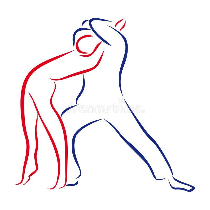 Esboço de pares da dança ilustração do vetor
