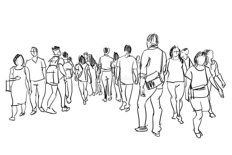 Esboço de passeio da tinta do grupo de pessoas imagens de stock