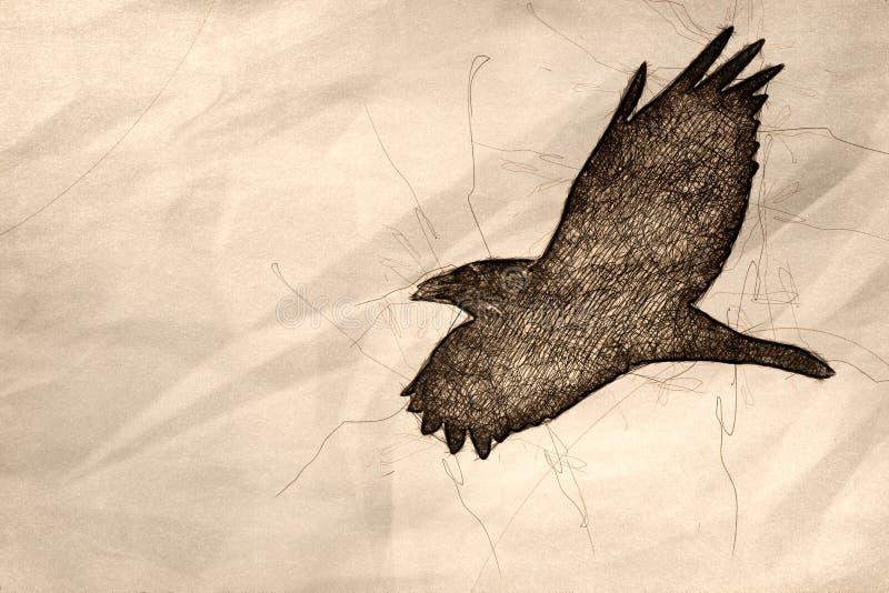 Esboço de Raven Flying preta comum em um céu azul ilustração do vetor