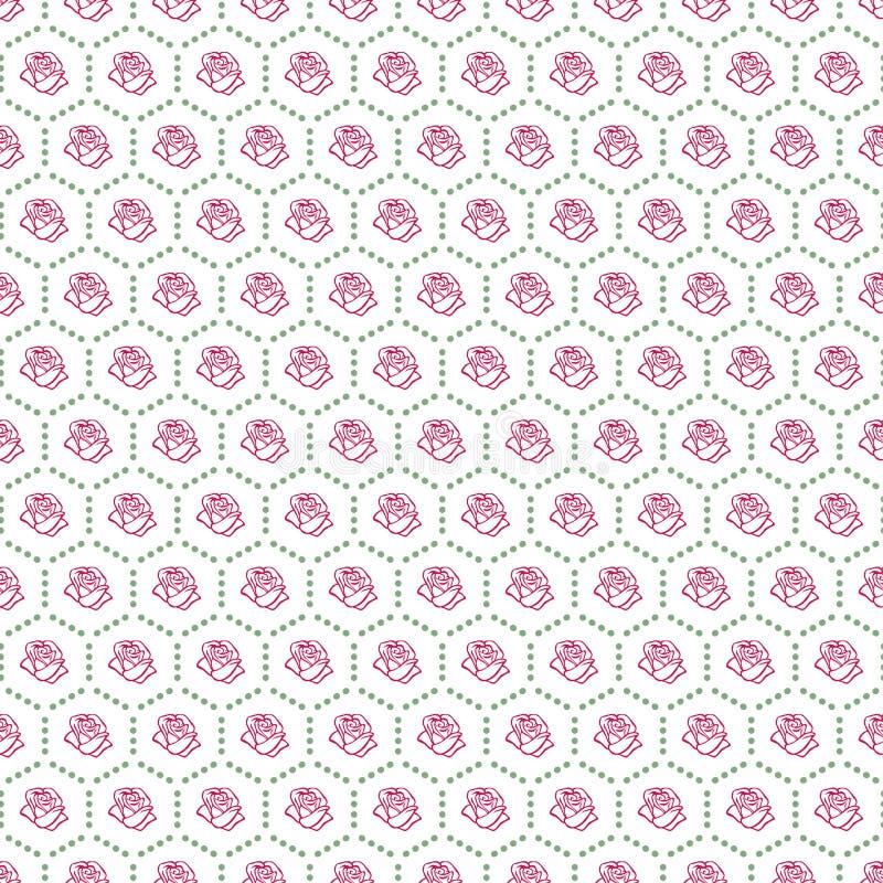 Esboço de Rosa Teste padrão sem emenda Elementos do projeto da flor com hexágono Ilustração do vetor Projeto elegante do esboço d ilustração do vetor