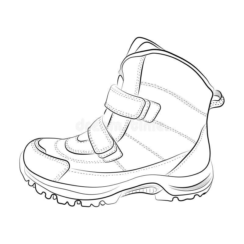 Esboço de sapatas do inverno em um fundo branco Vetor ilustração stock