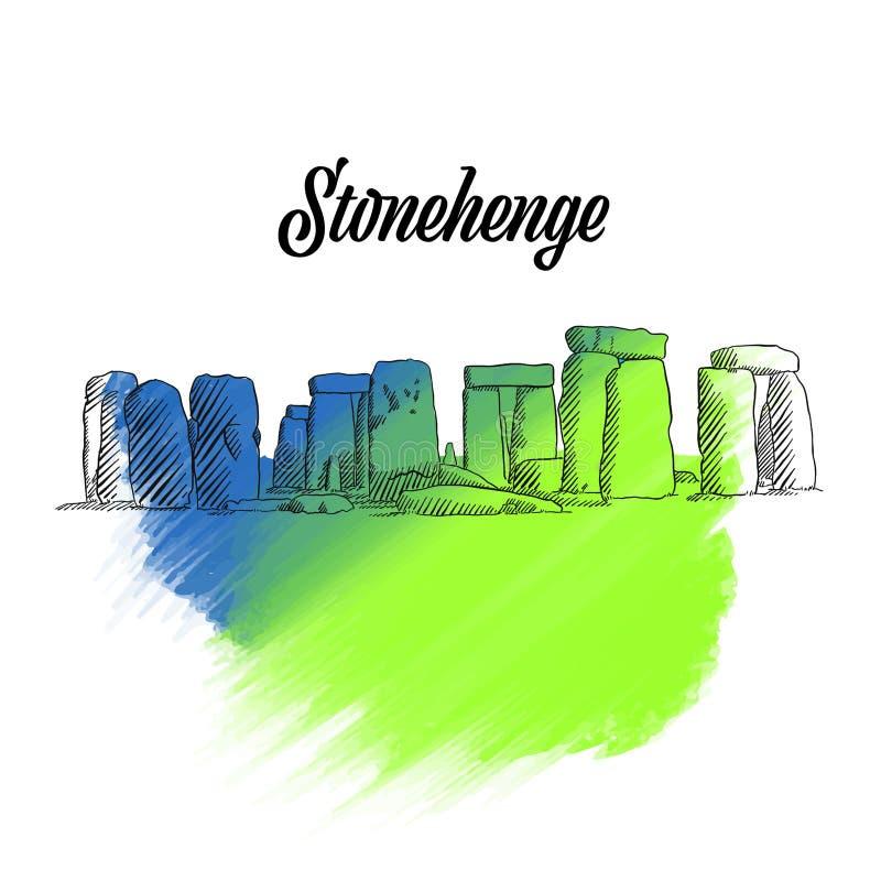 Esboço de Stonehenge Inglaterra ilustração do vetor