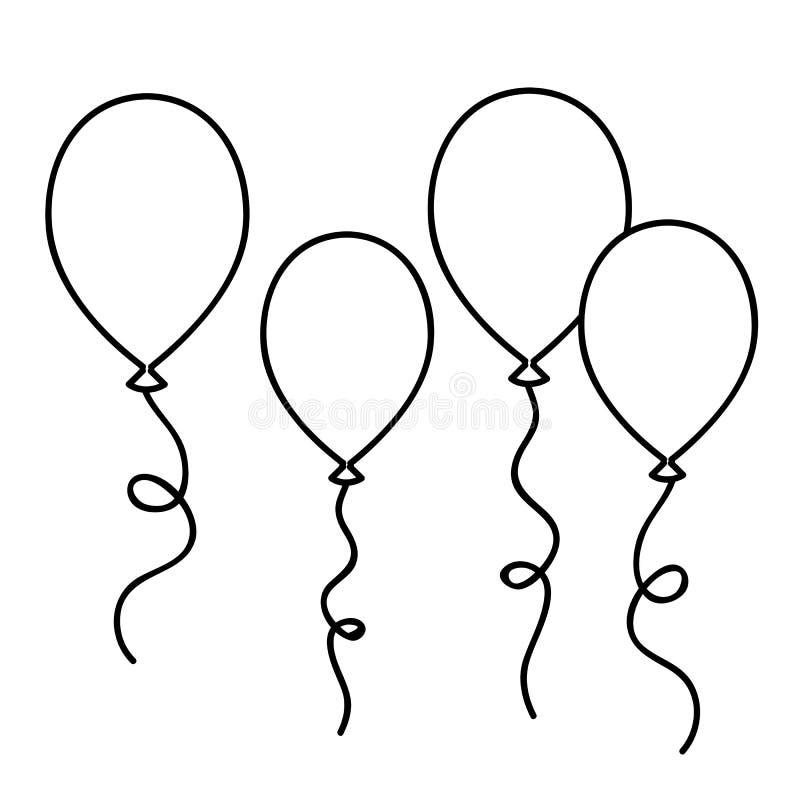 Esboço de tiragem simples dos balões para o livro para colorir ilustração do vetor