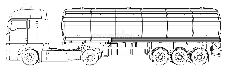 Esboço de um caminhão com um vetor do tanque Ilustração criada de 3d Fio-quadro ilustração royalty free