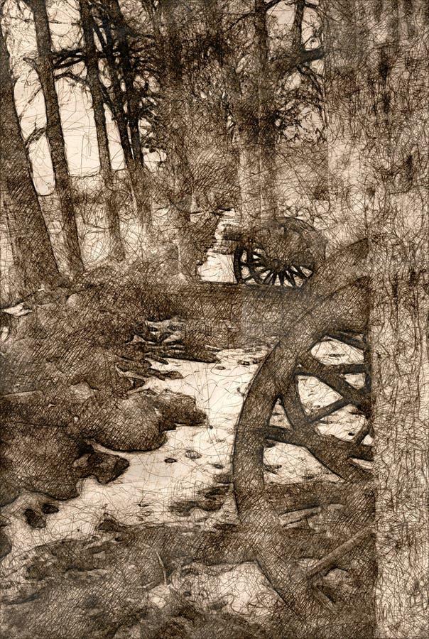 Esboço de um canhão americano da guerra civil escondido nas árvores ilustração do vetor